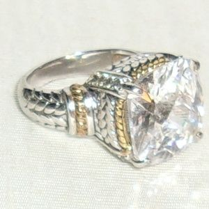 Jewelry - Huge Fantasy Cushion Cut CZ Gold & Silver Tone Des